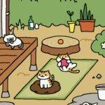 猫が庭で遊ぶ絵を見て楽しむゲーム