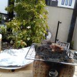 タイルテラスで焼き鳥
