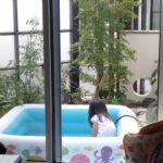 庭でプールを楽しむ